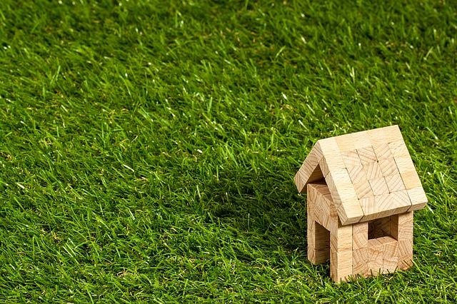 dřevěný domeček, tráva