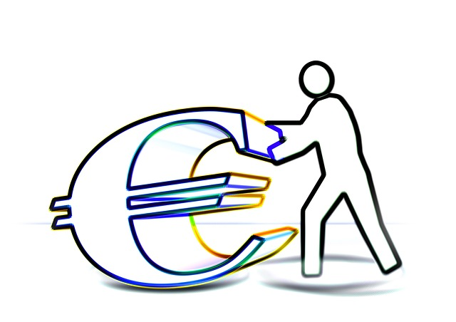 nákres – panáček tlačí euro symbol